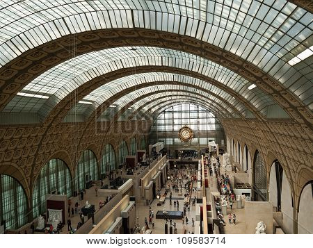 PARIS, FRANCE - SEPTEMBER 7 2014: the museum D'Orsay in Paris France. Musee d'Orsay has the largest collection of impressionist and post-impressionist paintings in the world.