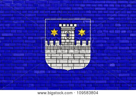 Flag Of Cakovec Painted On Brick Wall
