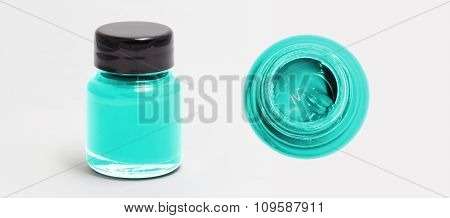 Turquise Acrylic Color Bottle Side And Top View White Isolated With Clipping Path