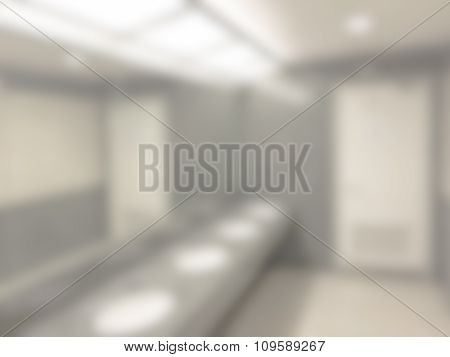 Blurred / Defocussed Abstract Background Of A Restroom With Wash Basins With Vintage Color Effects