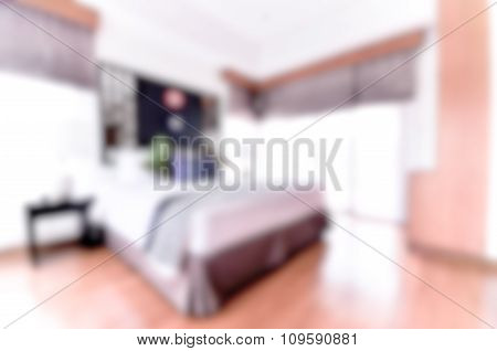 Blurred / Defocussed Abstract Background Of A Comfort Bedroom With Vintage Colour Effects Taken With