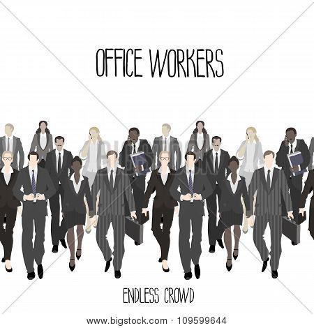 Huge crowd of office workers