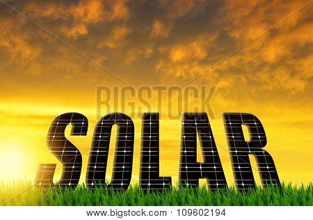 The word Solar from solar energy panels against sunset sky