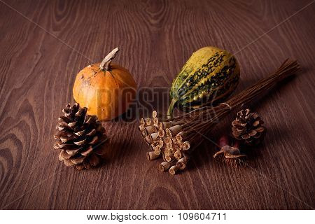 Autumn Concept On Wooden Background