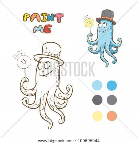 Coloring Book With Octopus.