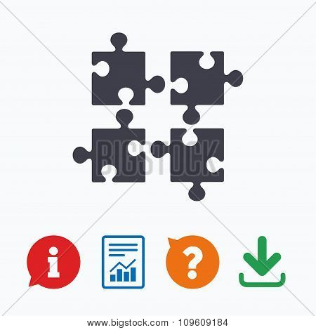 Puzzles pieces sign icon. Strategy symbol.