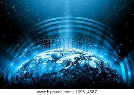 Best Internet Concept Globe Glowing Lines On Technological Background Electronics Wi Fi Rays Symbols Internet Television Mobile And Satellite Communications Technology Illustration Poster Id 109614587
