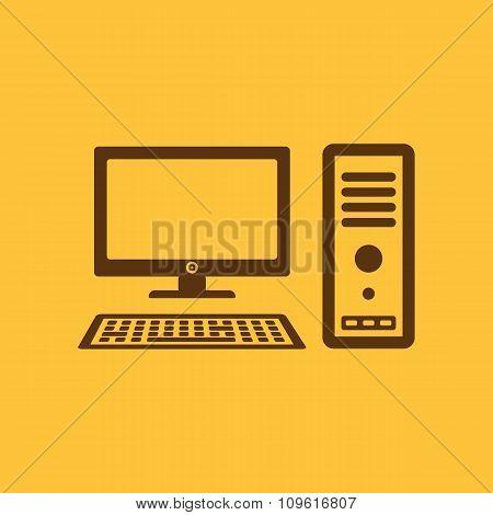 The computer icon. PC symbol. Flat