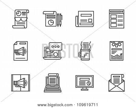 Newsletter black line vector icons set