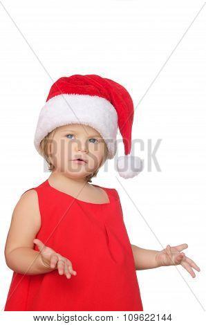 Surprised Little Girl In Christmas Cap