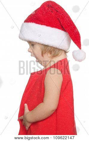 Surprised Child In Christmas Cap, Snow