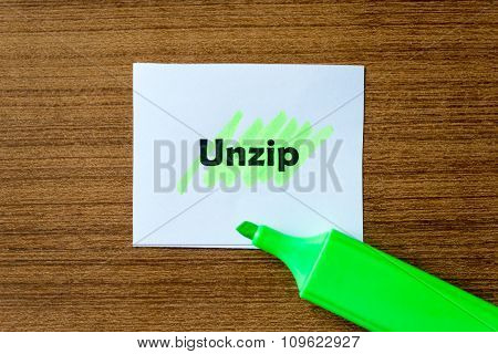 Unzip Word Hightlighted