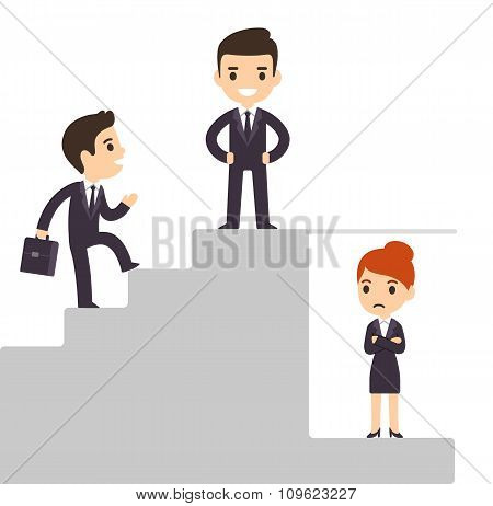 Glass ceiling and workplace discrimination issues. Cartoon business men climbing corporate ladder excluding women. Isolated vector illustration. poster