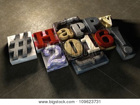 Happy 2016 New Year title in vintage colorful wood block text. Social media hashtag with grunge concrete background. Rough wooden blocks celebration of 2016 New year and the festive season on 1 January poster