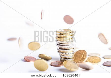 Euro money. Coins are isolated on a white background. Currency of Europe. coins fall down. Levitatio