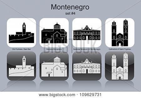 Landmarks of Montenegro. Set of monochrome icons. Editable vector illustration.