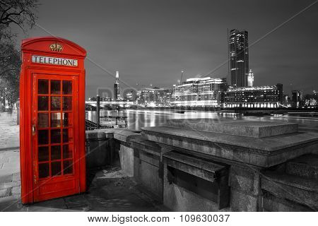 Red Telephone Box by the Thames, Night Scene