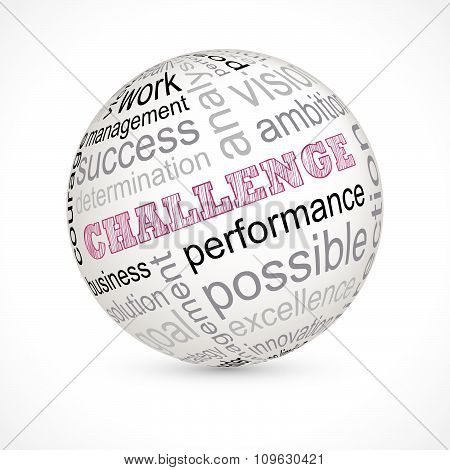 Challenge theme sphere with keywords full vector poster