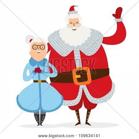 Santa Claus, Missis Claus couple vector illustration. Santa Clau, Missis Claus cartoot people. Missis Claus traditional costume. Santa Claus isolated on background. Santa Claus family portrait
