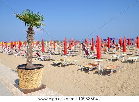 Beach of Lido di Jesolo at adriatic Sea,Veneto,venetian Riviera,mediterranean Sea,Italy poster