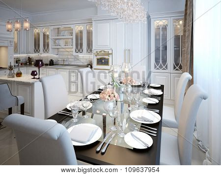 The Dining Room And Kitchen In The Style Of Art Deco.
