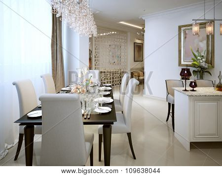 The Dining Room And Kitchen In A Classic Style.