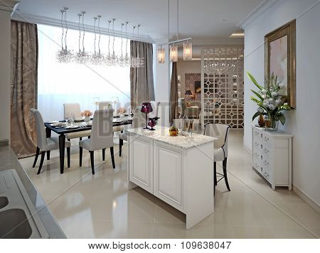 Kitchen With Island And Dining Table In The Arab Style.