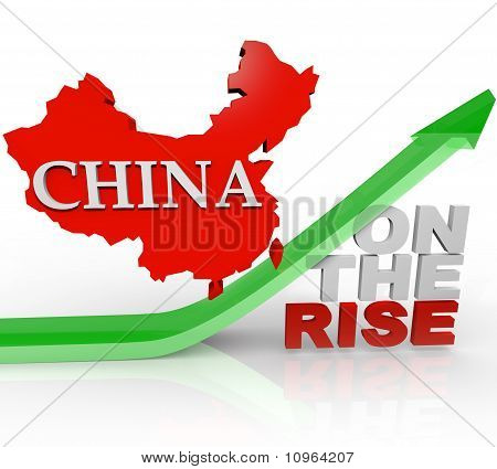 China On The Rise - Country Map On Arrow