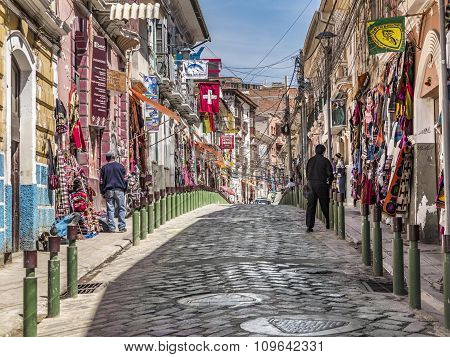 Popular tourist and shopping streets of La Paz