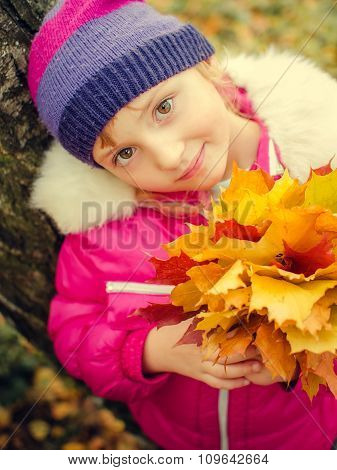 Little Girl With Autumn Orange Leaves