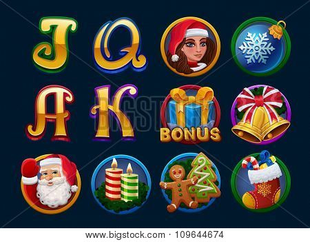 Symbols for slots christmas game. Vector illustration