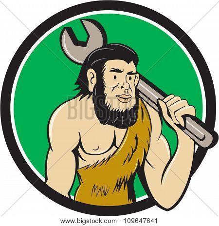 Neanderthal Caveman With Spanner Circle Cartoon