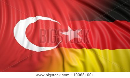 Close-up of Turkish and German flags