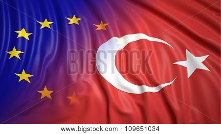 Close-up of Turkish and EU flags