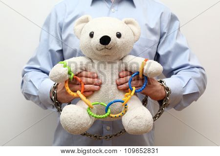 Teddy bear with a chain