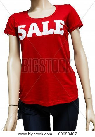 Female mannequin torso closeup in the showcase of sportswear in red t-shirt and leggins with sale text on it at the white background poster