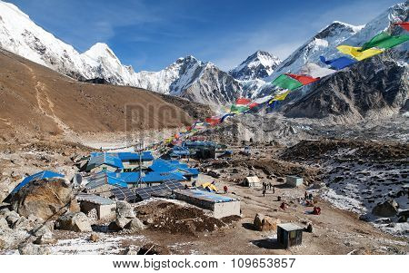 Gorak Shep Village With Prayer Flags