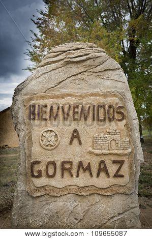 Bienvenidos a Gormaz village signpost, Soria, Spain