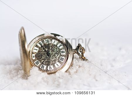 Greeting card of New Year with watch