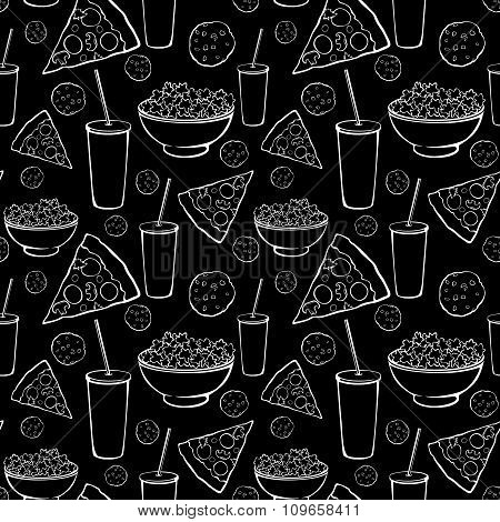 Vector Black White Sleepover Movie Night Party Food Seamless Pattern. Pizza. Drink. Cookie. Popcorn.