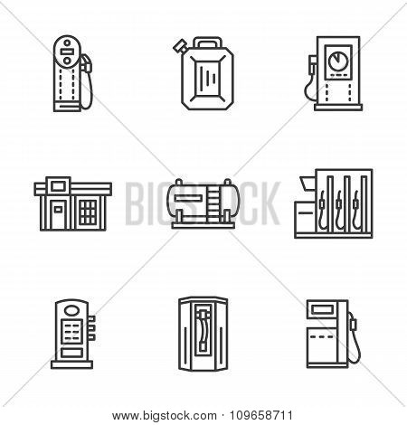 Gas station black line vector icons collection