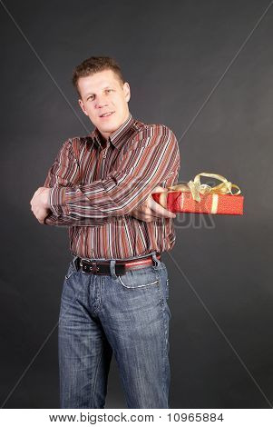 Man With  A Box With A Gift