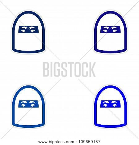 Set of paper stickers on white background woman in burqa
