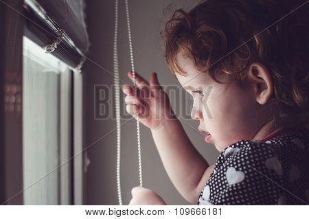 Little Kid On The Window Blinds Open.