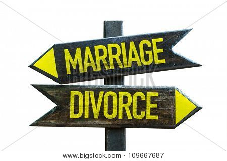 Marriage - Divorce signpost isolated on white background