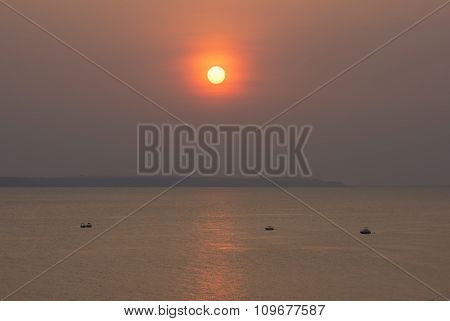 Sunset Over The Rio Negro In Amazonas