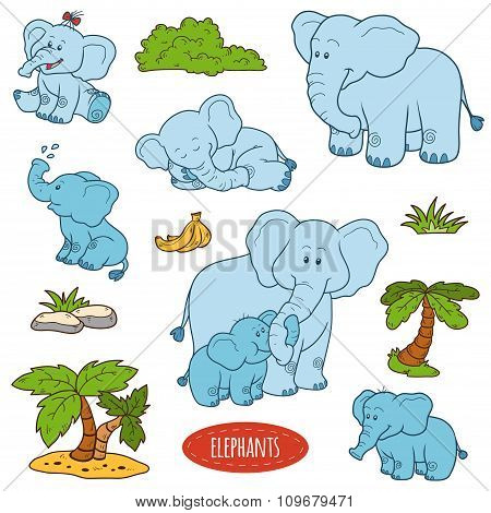 Set Of Cute Animals And Objects, Vector Stickers, Family Of Elephants