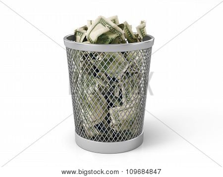 Money In Basket. Isolated Over White