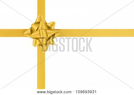 yellow ribbon cross with gift bow isolated on white background