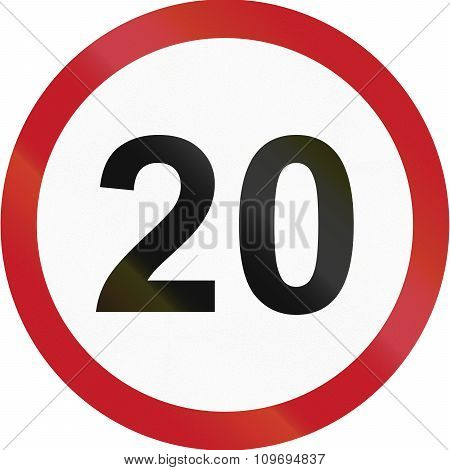 Road Sign In The Philippines - Speed Limit - Maximum 20 Kph